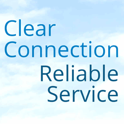 Business phone: Clear Connection and Reliable Service cloud graphic