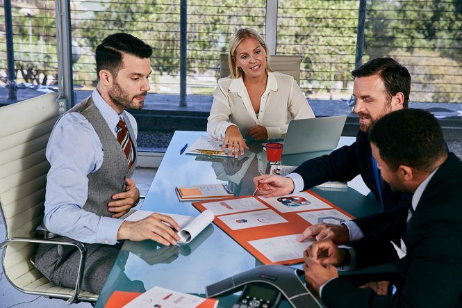 Three men and a woman having a meeting.