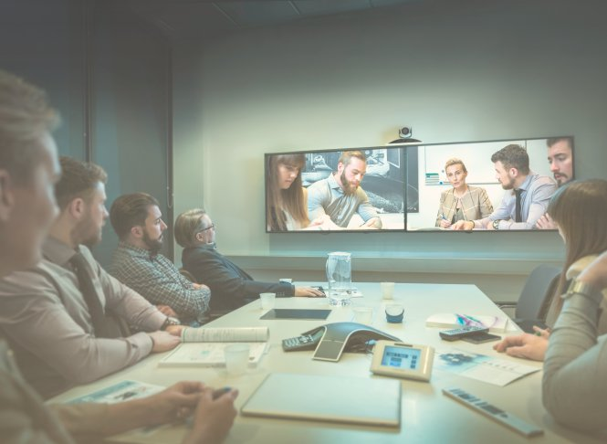 Sip trunk channels facilitate a videoconference between remote and in-house workers