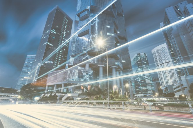 Cityscape with lines indicating fast speed and connectivity — benefits of UCaaS