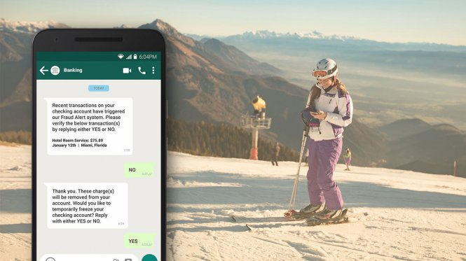 Fraud alerts while out on the slopes.
