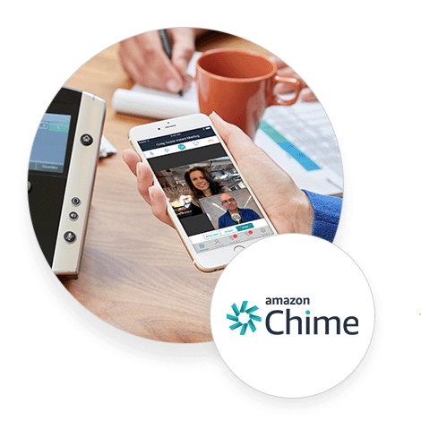 Amazon chime video conferencing on a mobile phone