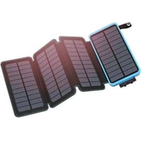 Black power bank that folds out into mini solar panels to charge