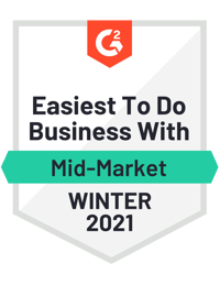 G2 Easiest to do business with - Winter 2021