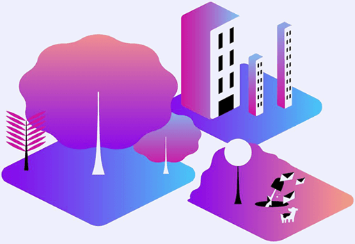 Illustration of office building an a park