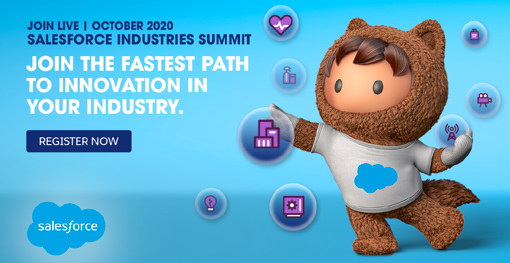 Salesforce industry summit banner 2020 with a registration button