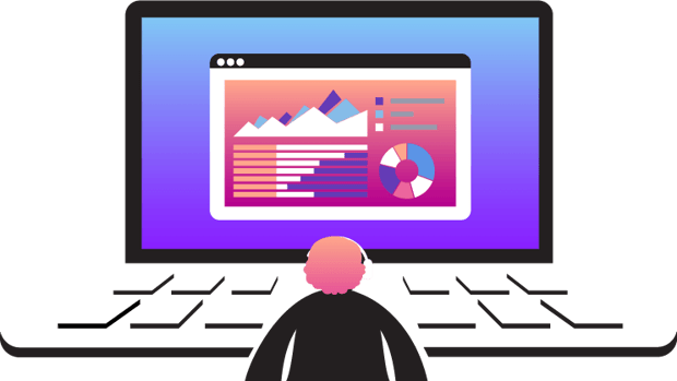 Illustration of person in front of laptop browser displaying charts and dashboard