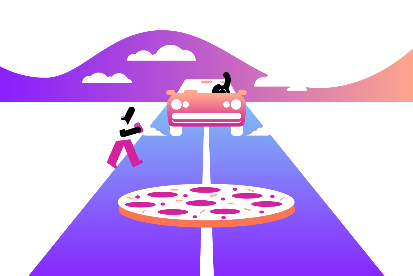 Illustration of pizza delivery service using app.