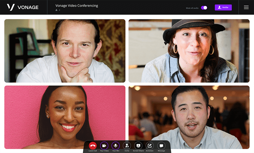 Vonage video conferencing interface with other people on screen