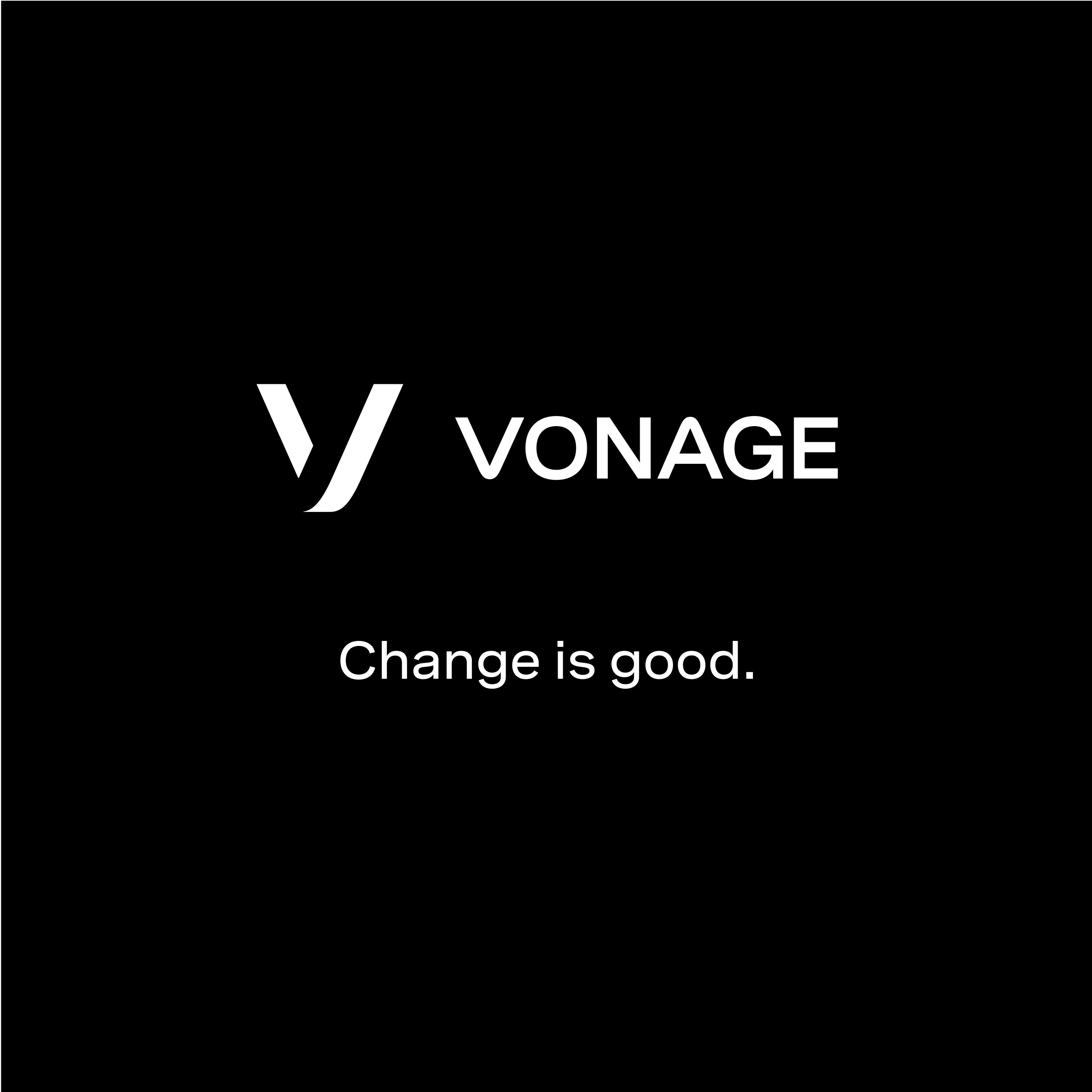 "New vonage logo with the words ""Change is good"" below it."
