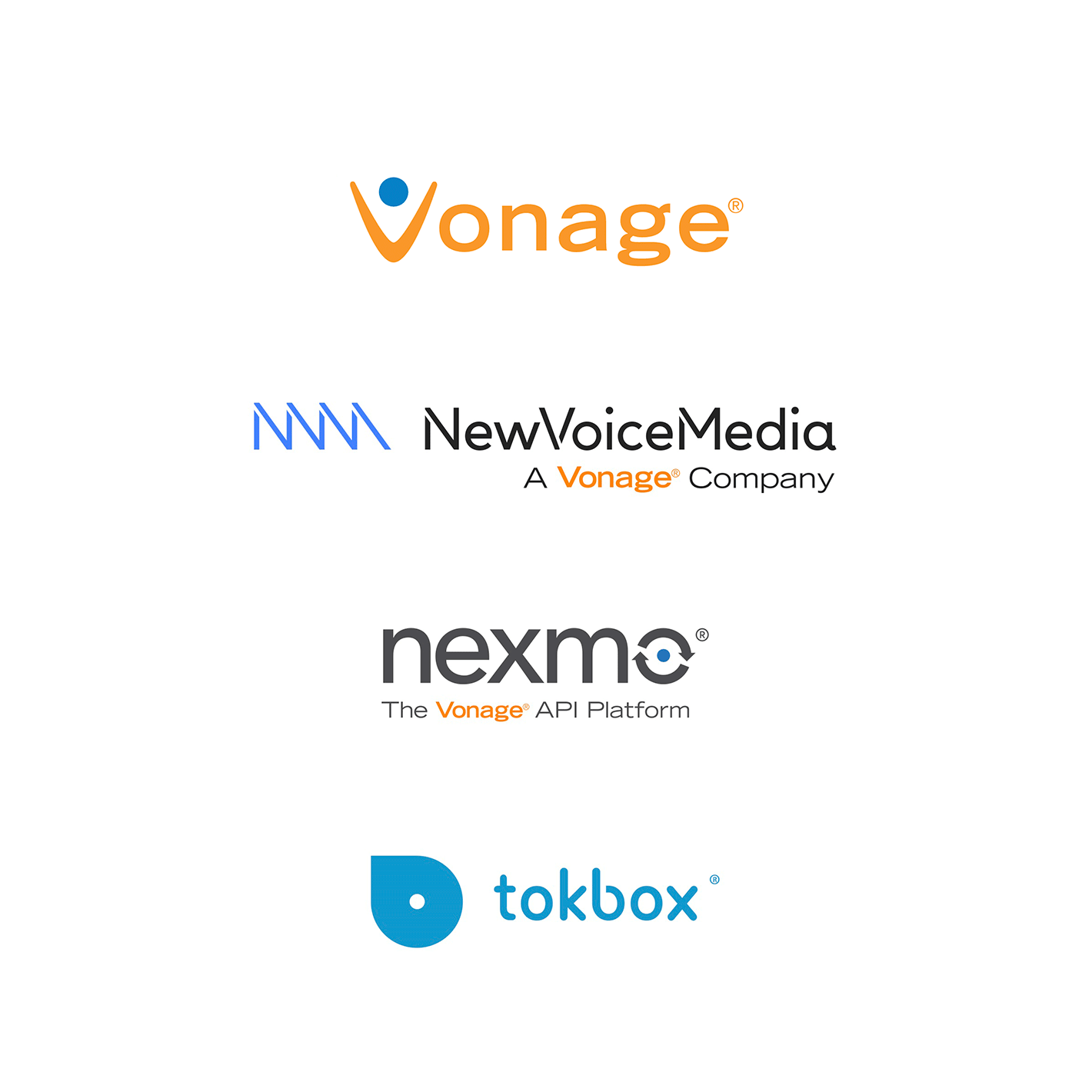 Old logos for Vonage, NewVoiceMedia, Nexmo and tokbox.